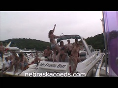 Girls flashing around party cove earning boob beads