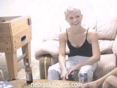 Drunk blonde coed loses strip poker and masturbates