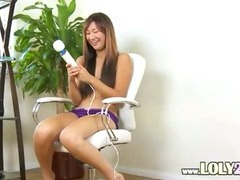 asian with huge big vibrator in action