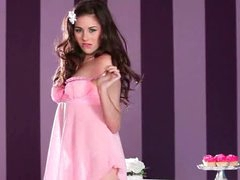Shyla Jennings tease in pink lipstick and lingerie