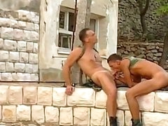 Two sexy and sweet army dudes are pounding and drilling each other