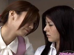 Office Lady Sucking Mouth Strapon Holding It Her Mouth Other Girl Riding On Her Face On The Desk In The Office