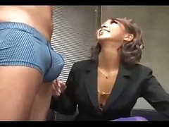 Hot Office Lady Giving Blowjob On Her Knees Cum To Mouth Swallowing On The Floor In The Office