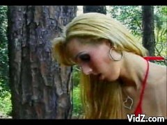 Sexy tranny slut fucks stud in the woods