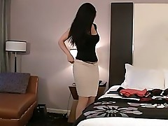 Desiree thoroughly preparing her ass and pussy before sex