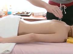Slim and tenderness babe Aliya enjoys her first naked massage procedure