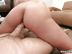 young blonde rides cock and gets facial