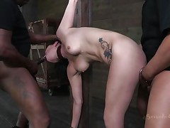 black&white cocks rips her body