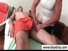 Horny gay dude comes in for back massage and gets his weenie massaged too