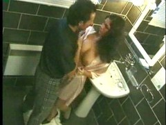 Sexy darksome haired chick nailed in bathroom