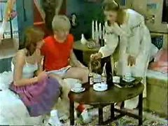 Brother&,#039,s friend and girlfriend playing to the doctor when mom  comes-Retro