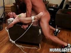 Skinny pale babe gets tied and humiliated in rough sex