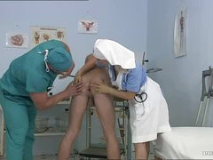 Busty Blonde Nurse Kathy Sweet Gets Facialized In a Bisexual Threesome