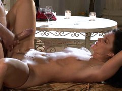 Drunk Brunette hair MILF India Summer Gets Fucked Doggy Style and Facialized