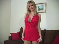 Gorgeous girl in pantyhose and dress tease