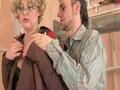 Sexy granny sucks and fucks jock