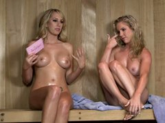 Ainsley Addison is one of two hot naked blondes with hot bodies and charming smiles that show it all in this video. Blondes expose their lovely boobs during the interview